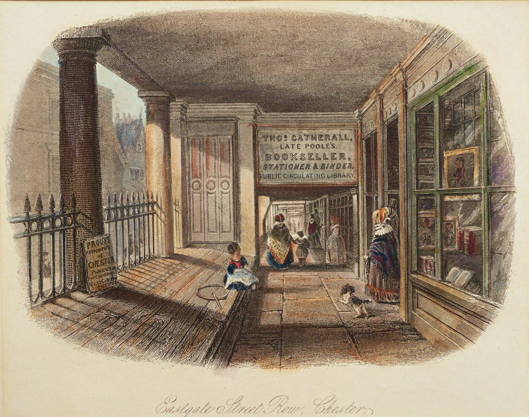 Eastgate Street Row Chester - Antique Steel Engraving circa 1844