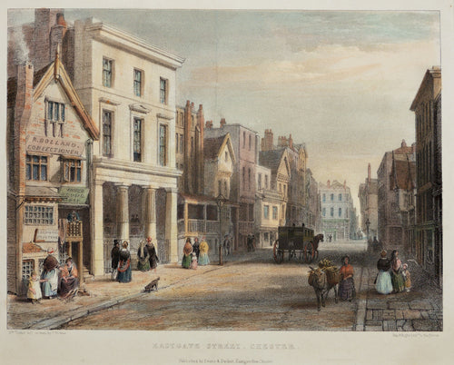 Eastgate Street Chester - Antique Lithograph circa 1840