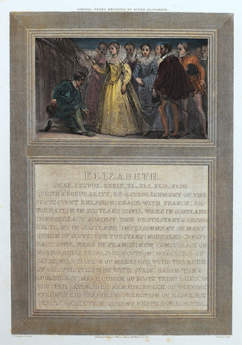Admiral Drake Knighted by Queen Elizabeth - Antique Copper Engraving 1805