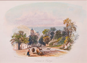 Entrance to Hastings - Antique Steel Engraving circa 1840