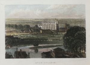 Eton College - Antique Steel Engraving circa 1851