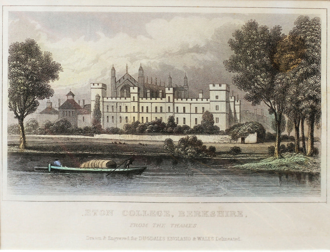 Eton College Berkshire - Antique Steel Engraving circa 1848