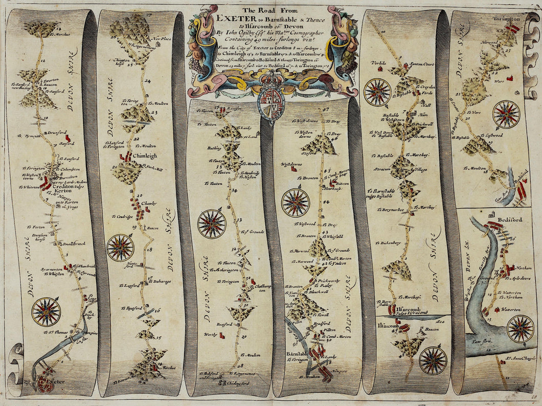 The Road From Exeter to Barnstable - Antique Ribbon Map circa 1675