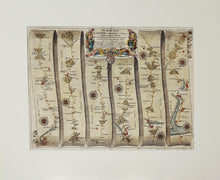 Load image into Gallery viewer, The Road From Exeter to Barnstable - Antique Ribbon Map circa 1675