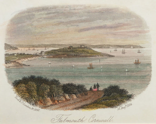 Falmouth Cornwall - Antique Steel Engraving circa 1864
