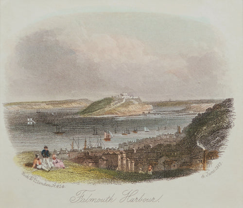 Falmouth Harbour - Antique Steel Engraving circa 1863