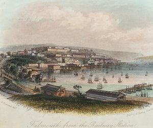 Falmouth from the Railway Station - Antique Steel Engraving circa 1850