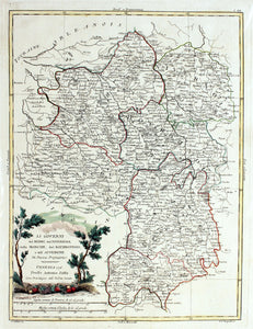 Map of Central France - Antique Map circa 1776