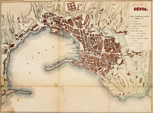Genoa - Antique Map circa 1870