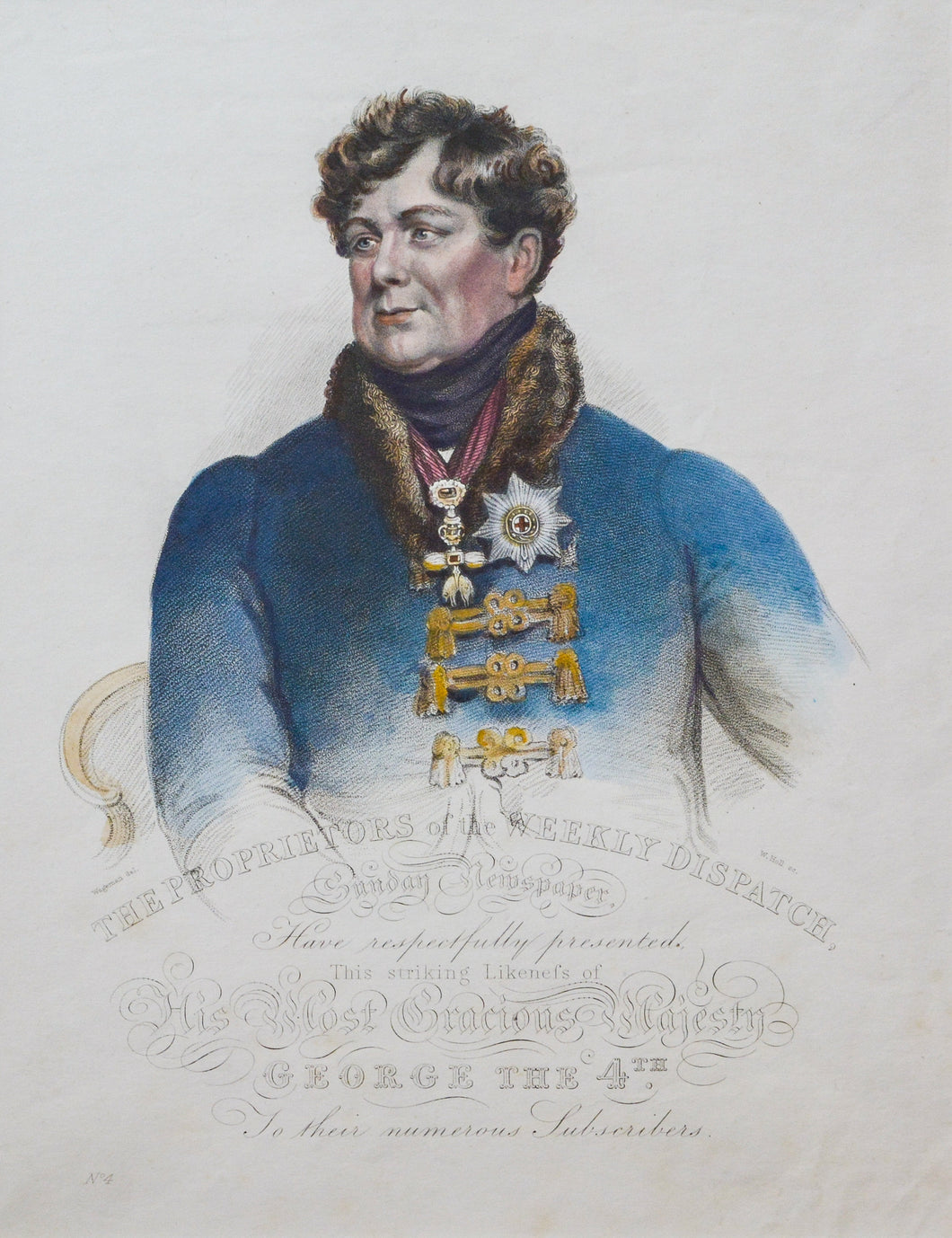 Portrait of George IV - Antique Stipple Engraving circa 1820s