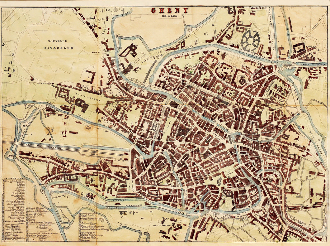Ghent - Antique Map circa 1870