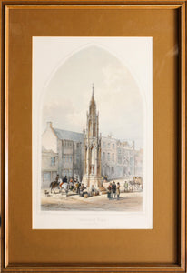 Glastonbury Cross Erected 1845 - Antique Lithograph circa 1845