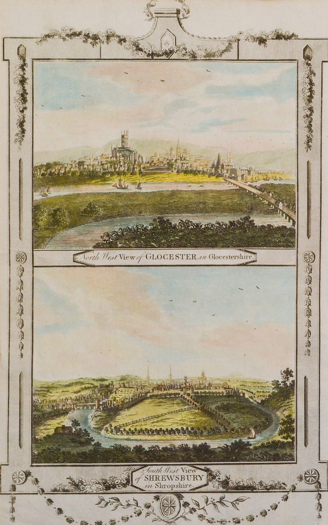 A View of Glocester and a View of Shrewsbury - Copper Engraving circa 1784