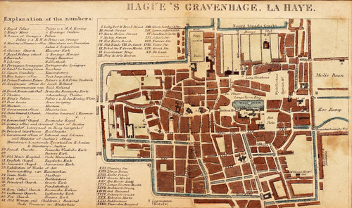 Hagues Gravenhage La Haye - Antique Map circa 1870