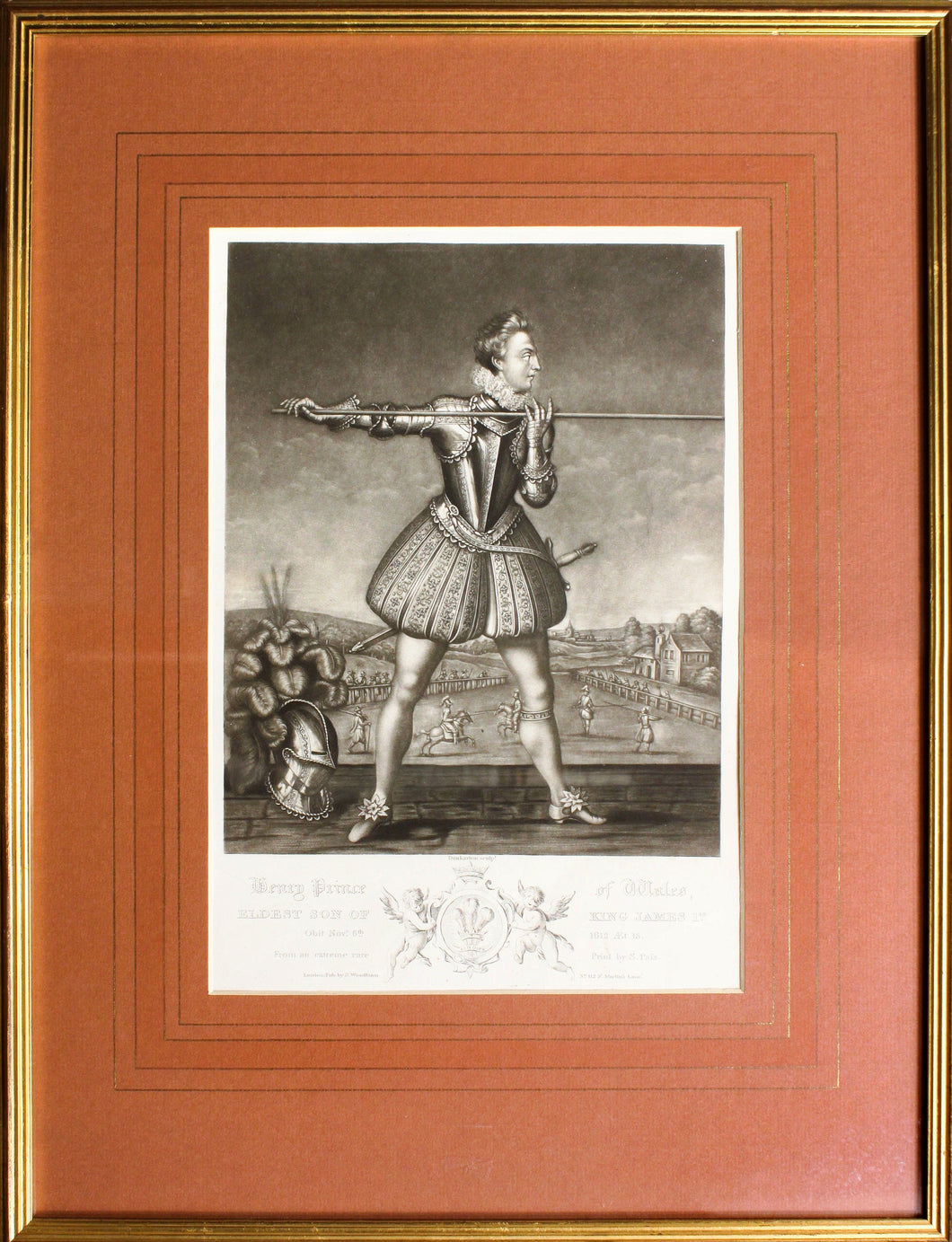 Henry Prince of Wales Exercising with a Lance - Mezzotint circa 1800