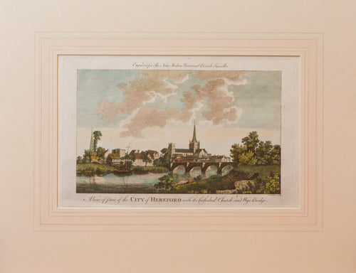 The City of Hereford - Antique Copper Engraving circa 1784