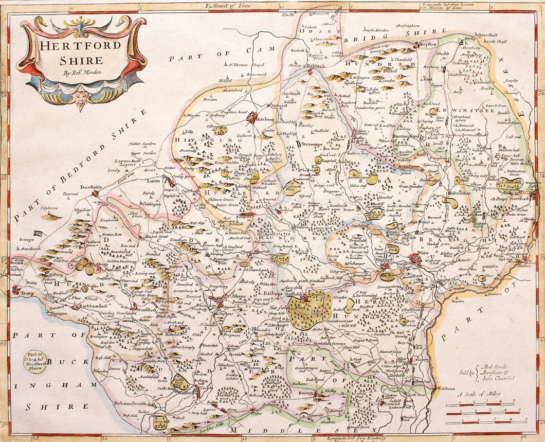 Hertfordshire - Antique Map by Robert Morden circa 1722