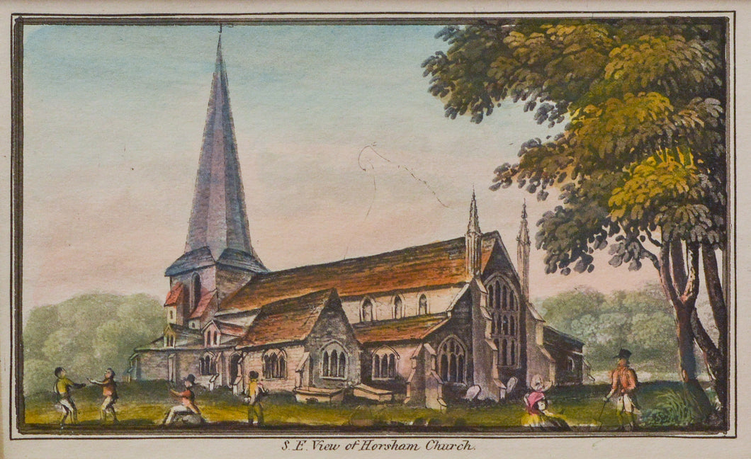 SE View of Horsham Church - Antique Aquatint circa 1830