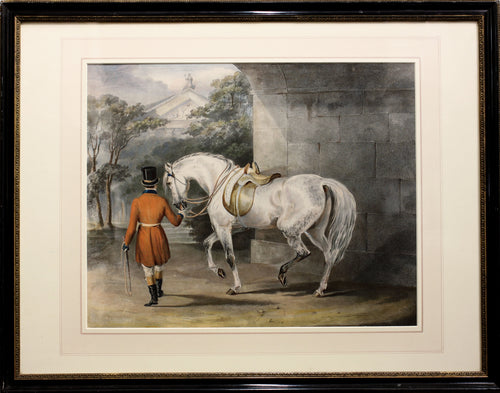 Hunting Horse with Rider - Coloured Print Lithograph circa 1850