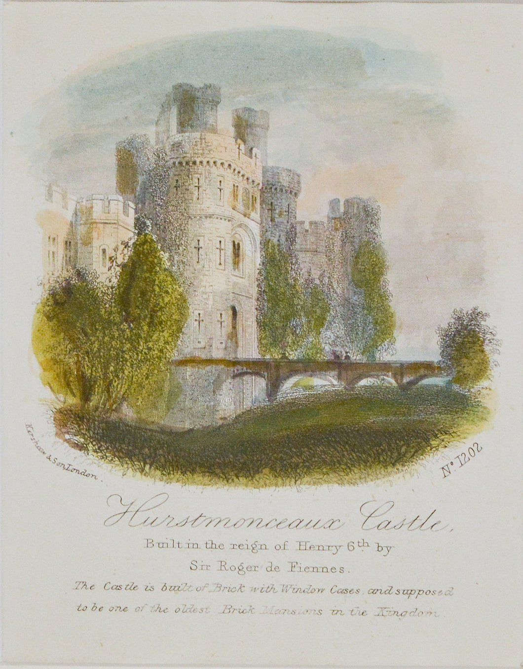 Hurstmonceaux Castle - Antique Steel Engraving circa 1870