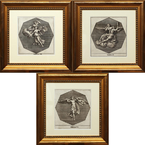 A Triptych of Antique, Italian Copper Engravings, circa 1680
