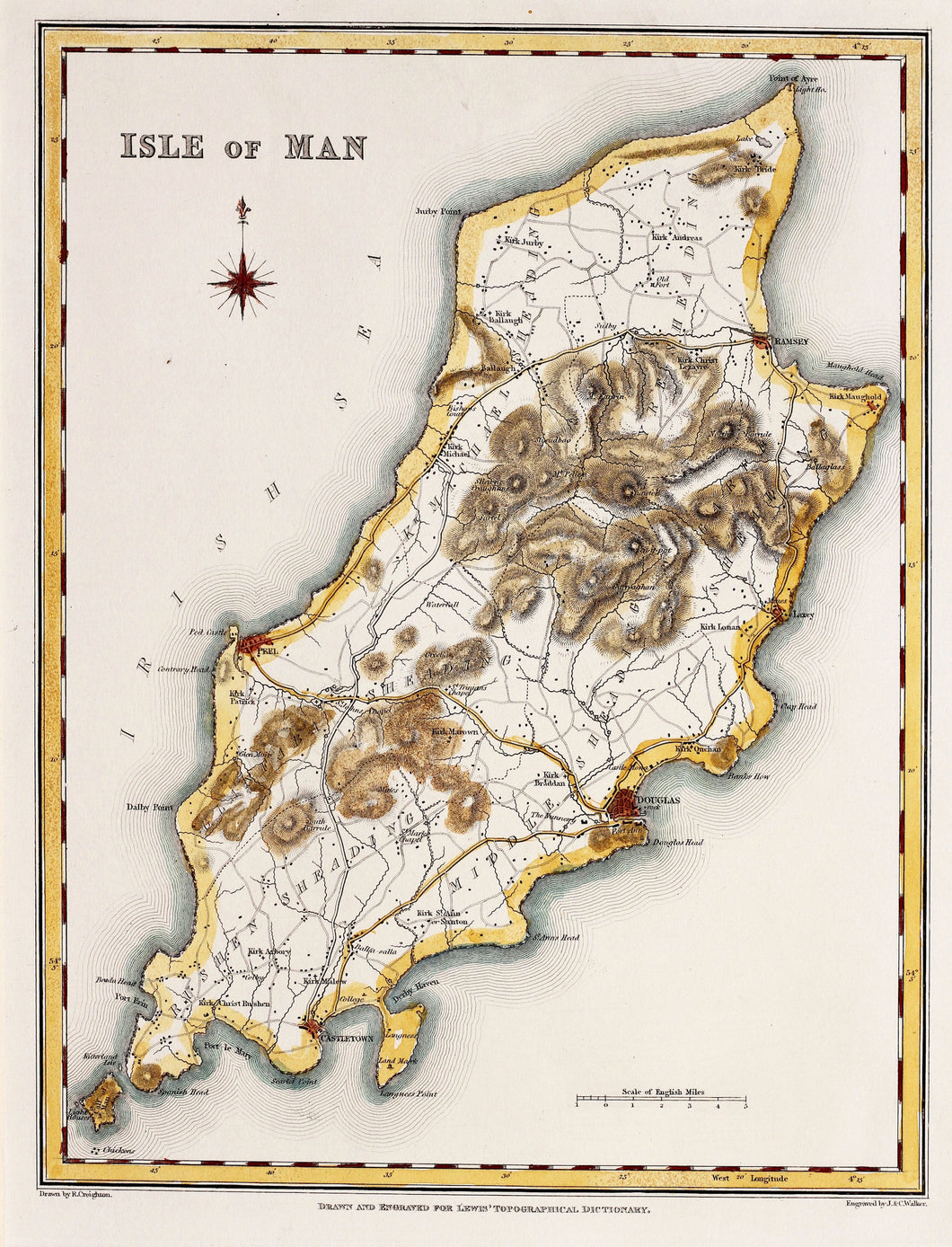 Isle of Man - Antique Map by J&C Walker circa 1831