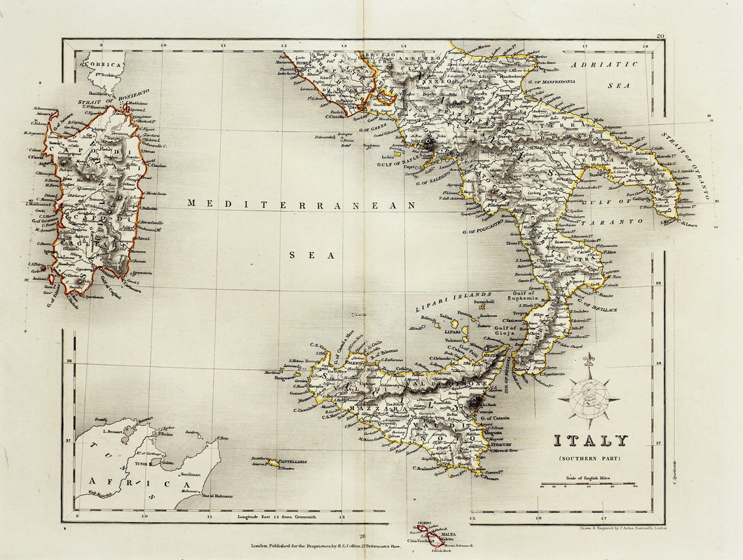 Italy Southern Part - Antique Map circa 1850