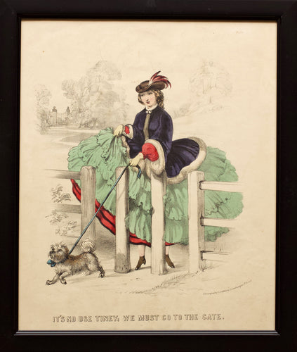 Its No Use Tiney and It Is To Be Done Tiney - Pair of Hand Coloured Lithographs 1858