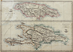Jamaica and Hayti - Antique Map circa 1863