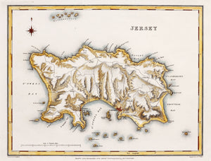 Jersey - Antique Map by J&C Walker circa 1831