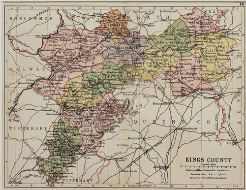 Kings County Ireland - Antique map by Bartholomew circa 1882