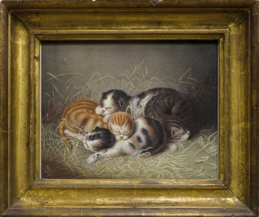 Kittens in a Barn - Antique Lithograph circa 1850