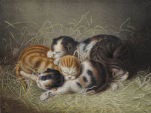 Load image into Gallery viewer, Kittens in a Barn - Antique Lithograph circa 1850