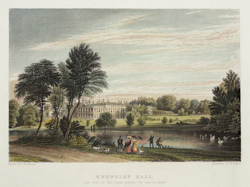Knowsley Hall - Antique Steel Engraving circa 1844