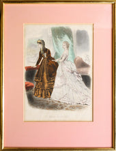 Load image into Gallery viewer, La Mode Illustree - Pair of Antique Fashion Prints circa 1860 - 70