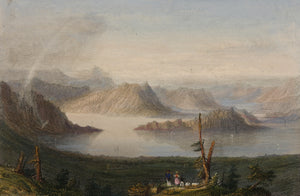 Lake of Lucerne Antique Steel Engraving circa 1845