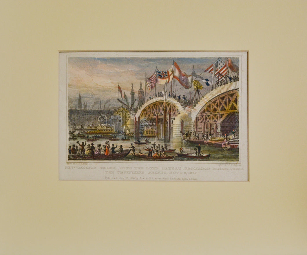 New London Bridge - Antique Steel Engraving circa 1828