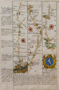 The Road from London to Chichester - Antique Route Map circa 1720