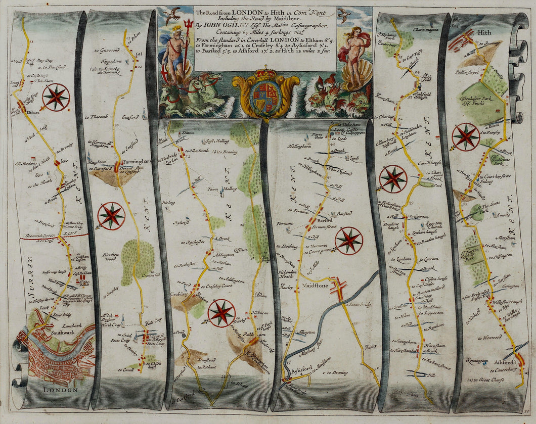 The Road from London to Hythe in Kent - Antique Ribbon Map circa 1692