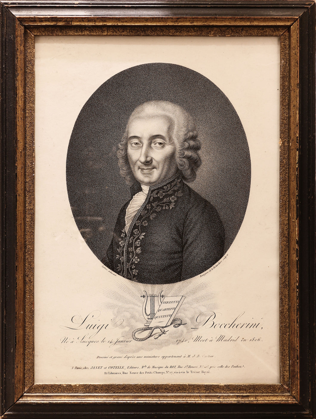 'Luigi Boccherini' a Fine Stipple Engraving of the Composer circa 1806