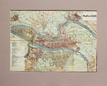 Load image into Gallery viewer, Plan of Lyons - Antique Map for Bradshaw circa 1870