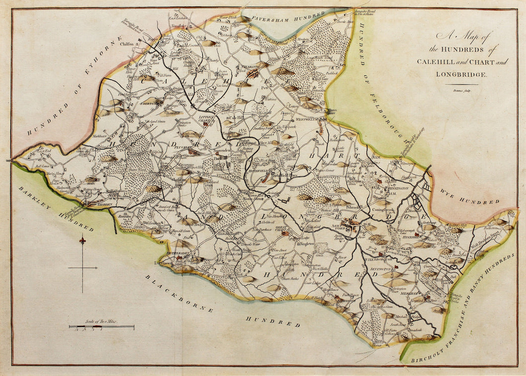 A Map of the Hundreds of Calehill and Chart and Longbridge - Antique Map circa 1778/90