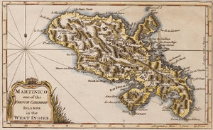Martinico Martinique - Antique Map circa 1758