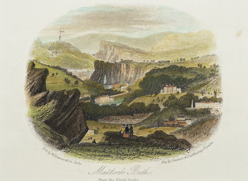 Matlock Bath from the Black Rocks - Antique Steel Engraving circa 1840