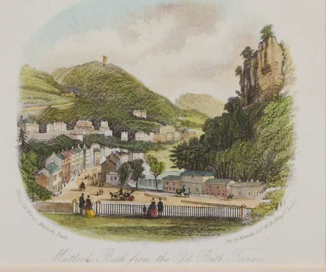 Matlock Bath from the Old Bath Terrace - Antique Steel Engraving, circa 1860