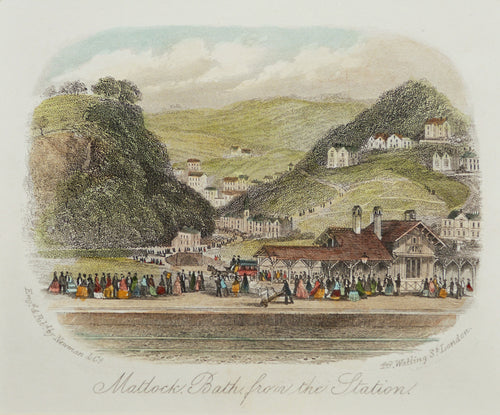 Matlock Bath from the Station - Antique Steel Engraving circa 1870