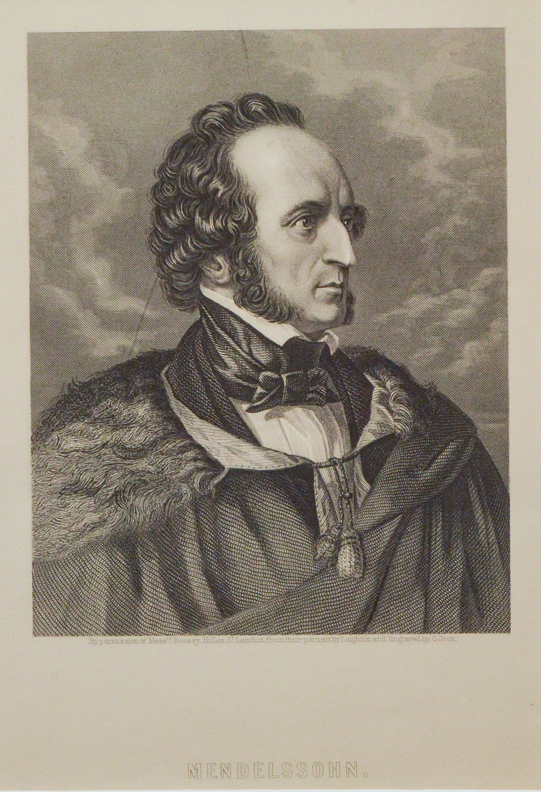 Mendelssohn - Antique Steel Engraving circa 1860