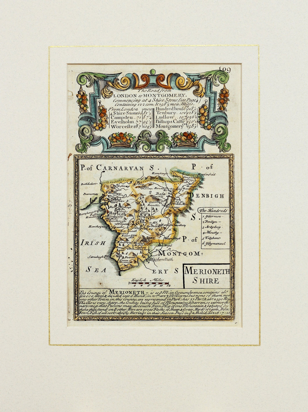 The Road From London to Montgomery - Antique Map by Owen/Bowen circa 1720