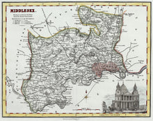 Load image into Gallery viewer, Middlesex - Antique Map by Fullarton circa 1848