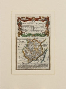 The Road from Monmouth to Lanbeder - Antique Map by Owen/Bowen circa 1720